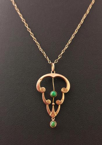 Antique Art Nouveau Turquoise Lavalier Pendant, 9ct Rose Gold, Necklace (1 of 10)
