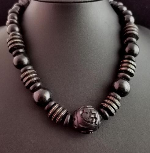 Victorian Bog Oak & Wood Bead Necklace (1 of 10)