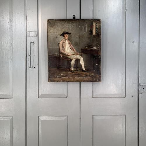 Antique Georgian oil painting portrait of gentleman The Flautist flute player (1 of 10)