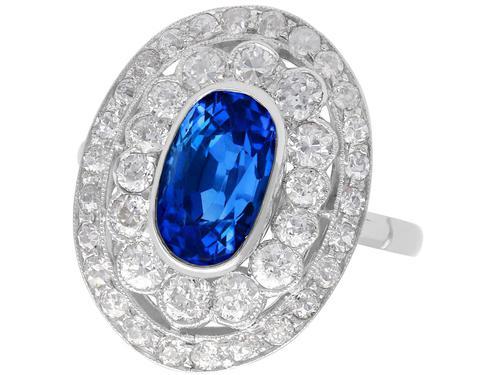 3.50 ct Ceylon Sapphire & 2.48ct Diamond, Platinum Dress Ring c.1935 (1 of 12)