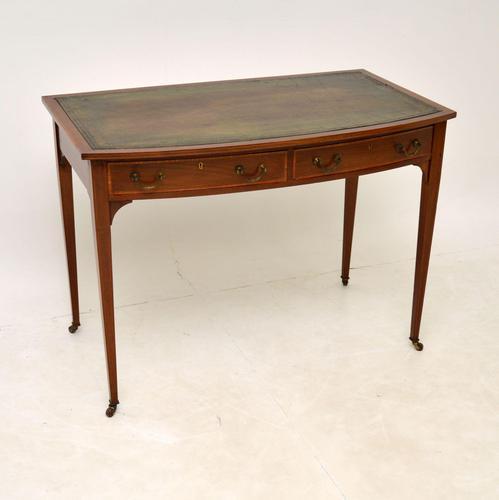 Antique Satinwood Inlaid Mahogany Writing Table / Desk (1 of 12)