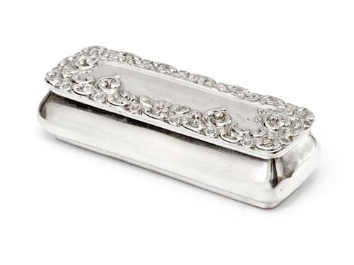 Small Victorian Silver Jewellery Box with Repousse Scroll and Flower Decoration (1 of 4)