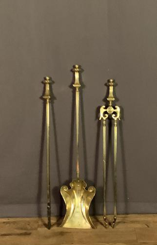 Lovely Trio of Brass Art Nouveau Fire Irons (1 of 6)
