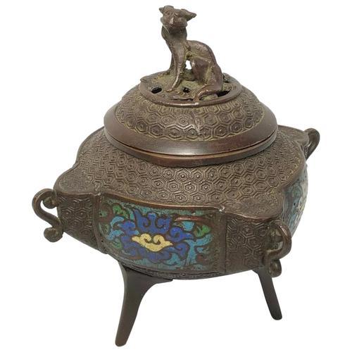 Antique 19th Century Bronze Japanese Inugami Enamel Inlaid Incense Burner Lid (1 of 12)