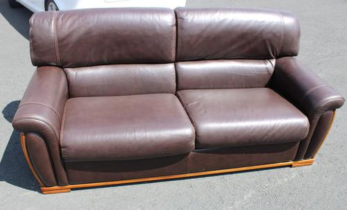 1960s 3 Seater Brown Retro Leather Sofa (1 of 3)