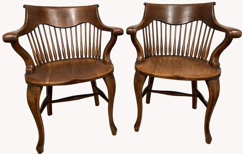 Superb Pair of Victorian Oak Captains Chairs (1 of 2)