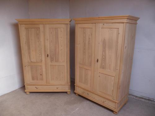 Quality Pair of Antique Pine Traditional Knockdown Wardrobes to wax / paint (1 of 11)