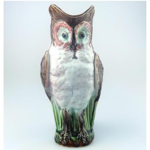 Attractive Novelty Majolica Pottery William Brownfield Owl Jug 2. C.1885 (1 of 8)