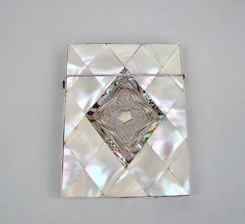 Exquisite Victorian Silver & Mother of Pearl Card Case c.1870 (1 of 7)