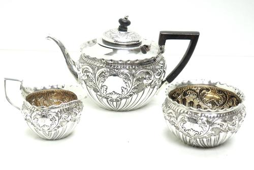 English Victorian Antique Solid Silver Tea Set, Embossed Decoration c.1890 (1 of 11)