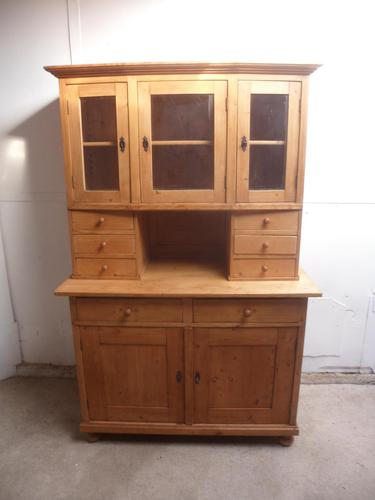 Beautifully Waxed Antique Pine 3 Door 6 Spice Drawer Kitchen Dresser (1 of 7)