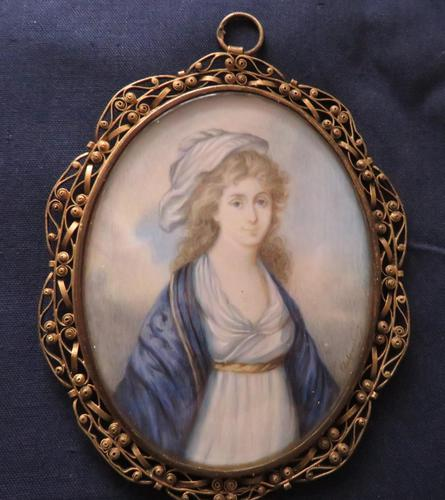Regency Miniature Portrait Gold Initials to the back (1 of 4)
