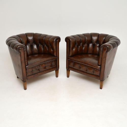 Pair of Antique Swedish Leather Chesterfield Armchairs (1 of 12)
