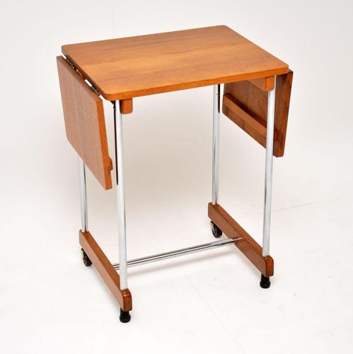 1950's Vintage Oak & Chrome Drop Leaf Side Table (1 of 9)