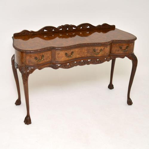 Queen Anne Style Burr Walnut Server Table c.1930 (1 of 12)