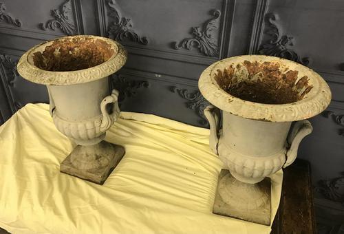 Pair of Cast Iron Garden Urns (1 of 7)