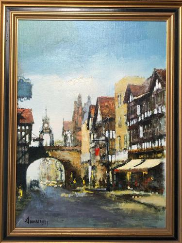 English Atmospheric Oil Painting Historic Chester Eastgate Street Clock After Ben Maile (1 of 12)