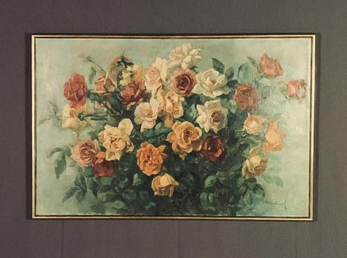 Signed Early 20th Century Large French Oil on Canvas Bouquet of Roses (1 of 8)