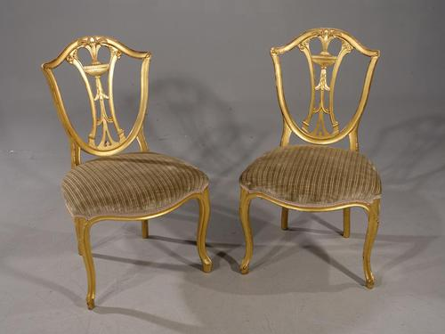 Rare Pair of Late 18th Century French Hepplewhite Gilded Side Chairs (1 of 6)