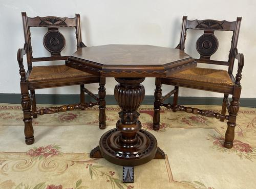 Antique Breton Side Table with Rush Seats (1 of 15)