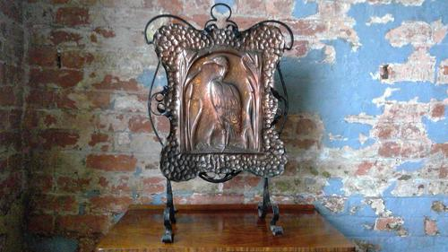 Arts & Crafts Copper Embossed Fire Screen (1 of 5)