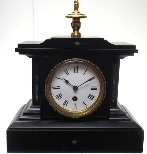 Amazing French Slate Mantel Clock Timepiece Mantle Clock with Machilite Inlay (1 of 11)