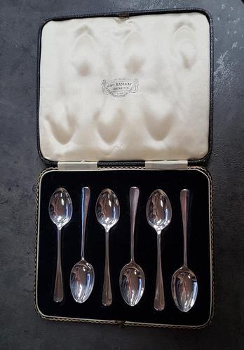 Cased Set of 6 Britannia Silver Teaspoons - 1936 (1 of 4)