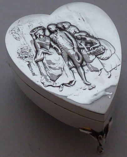 Rare Large 1904 Hallmarked Solid Silver Love Heart Pill Earring Jewellery Box (1 of 13)