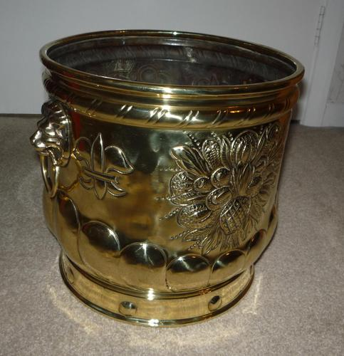 Brass Embossed Pot c.1900 (1 of 2)