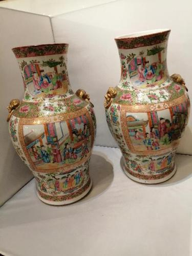 A fine pair of quality 19th century  Cantonese vases (1 of 10)