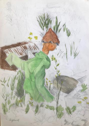 Original watercolour drawing 'Scarecrow and riddle' by Toby Horne Shepherd 1909-1993. Signed. c.1965 (1 of 1)