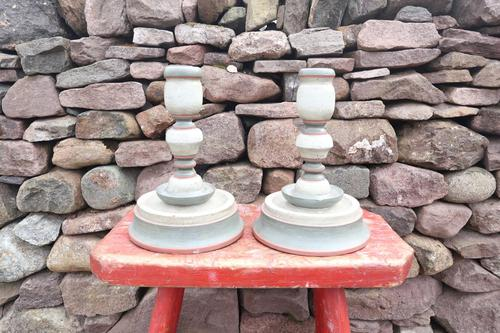 Pair of Swedish 'Folk Art' Large Over-sized Wooden Painted Candlesticks 20th Century (1 of 17)