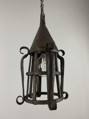 19th Century Blacksmiths Wrought Iron Ceiling Light, Lantern, Rewired (1 of 11)