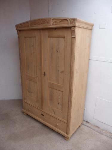 Art Nouveau Antique Pine 2 Door Wardrobe / Storage Cupboard to wax / paint (1 of 10)
