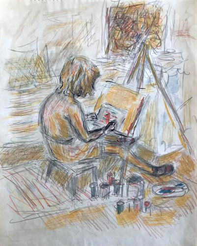 Original Watercolour 'The young artist, Anna painting' 1942' by Peter Potworowski. 1898-1961 (1 of 1)