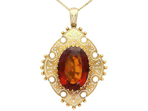 21.63ct Citrine, Enamel and 18ct Yellow Gold Pendant - Antique Victorian (1869) (1 of 9)