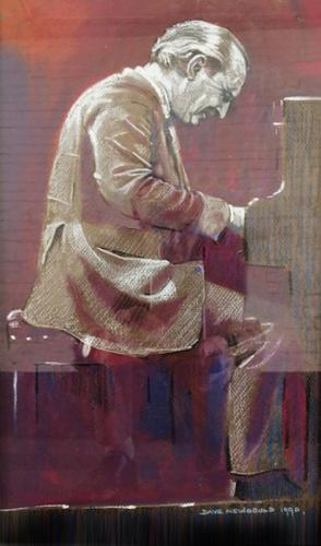 A pastel and watercolour of the Bebop Jazz pianist Joe Palin (1 of 4)