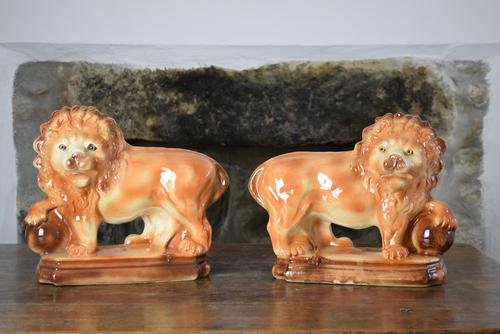 Large 19th Century Staffordshire Pottery Lions (1 of 10)