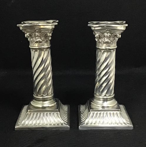 Pair of Silver Plated Late Victorian Barley Twist Corinthian Column Candlesticks (1 of 7)