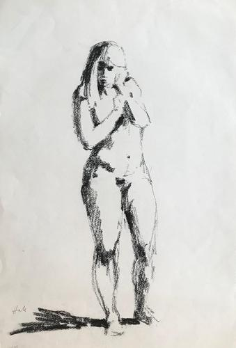 Original Black Chalks Drawing of a Nude 1981 (1 of 1)