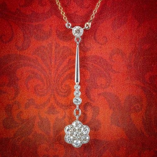 Antique Edwardian Diamond Flower Lavaliere Necklace 18ct Gold c.1905 (1 of 8)