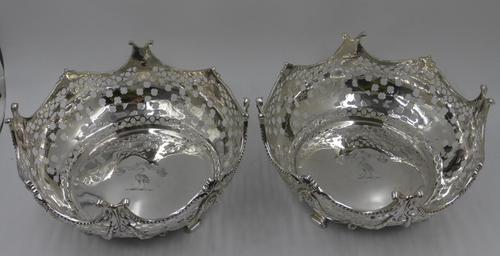 Pair of Antique Victorian Silver Baskets - London 1882 (1 of 8)