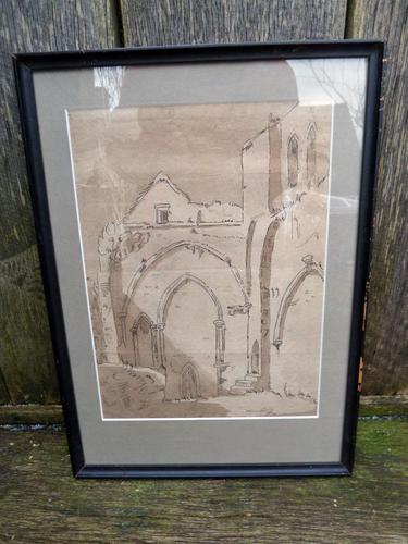 """18th Century Old Master Pen & Ink """"Ruins"""" (1 of 6)"""