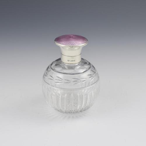 Silver, Lilac Guilloche Enamel & Cut Glass Scent Bottle (1 of 12)