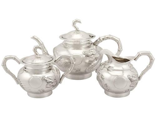 Chinese Export Silver Three Piece Tea Service - Antique Circa 1900 (1 of 15)