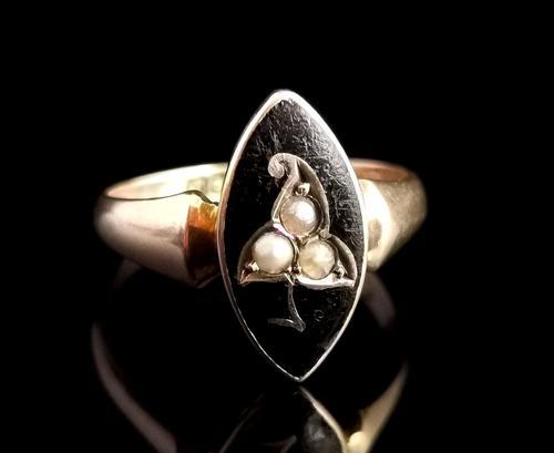 Antique Navette Mourning Ring, Black Enamel & Pearl, Ivy Leaf, 9ct Gold (1 of 10)