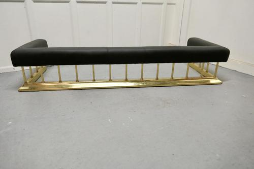 Large Brass & Black Leather Step Over Club Fender (1 of 7)