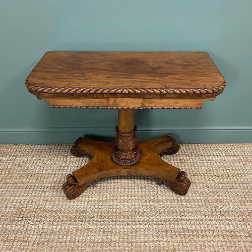 Striking William IV Figured Mahogany Antique Card / Games Table (1 of 9)