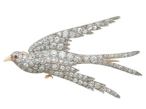3.34ct Diamond, Ruby & 18ct Yellow Gold Swallow Brooch - Antique c.1910 (1 of 9)