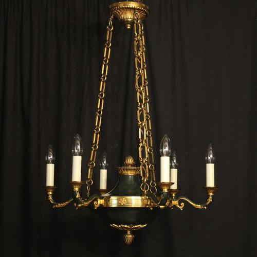 French Empire 6 Light Bronze Antique Chandelier (1 of 10)